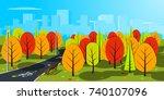 autumn landscape illustration.... | Shutterstock . vector #740107096