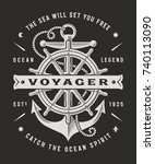 vintage nautical voyager... | Shutterstock .eps vector #740113090