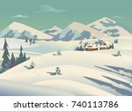 winter nature landscape.... | Shutterstock .eps vector #740113786