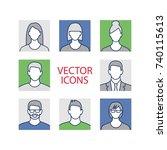 avatar profile picture icon set ... | Shutterstock .eps vector #740115613