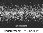 vector flying snow effect with... | Shutterstock .eps vector #740120149