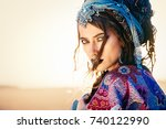 beautiful fashion model posing... | Shutterstock . vector #740122990