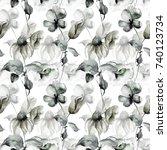 seamless wallpaper with summer... | Shutterstock . vector #740123734