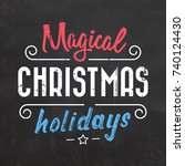 typographic christmas design  ... | Shutterstock .eps vector #740124430
