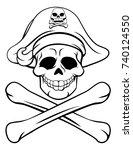 a cartoon halloween pirate... | Shutterstock .eps vector #740124550