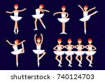 ballerina different poses in... | Shutterstock .eps vector #740124703