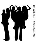 family silhouettes | Shutterstock .eps vector #74012578