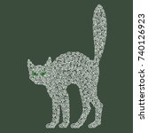 halloween vector cat | Shutterstock .eps vector #740126923