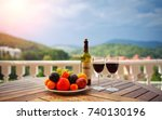 red wine  fruit and wine are on ... | Shutterstock . vector #740130196