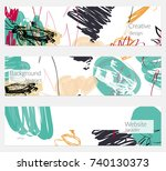 hand drawn creative universal... | Shutterstock .eps vector #740130373