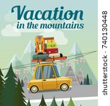 vacation in the mountains.... | Shutterstock .eps vector #740130448