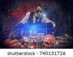 scientist inventor steampunk... | Shutterstock . vector #740131726