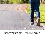 young girl take the dog for... | Shutterstock . vector #740132026