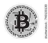crypto currency black coin with ... | Shutterstock . vector #740133130