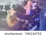beautiful girl with long hair  | Shutterstock . vector #740134753