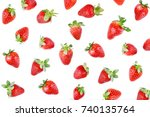 strawberries isolated on white... | Shutterstock . vector #740135764