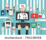 medical computer online call... | Shutterstock .eps vector #740138458