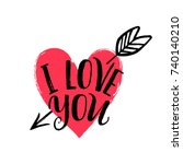 hand drawn heart with arrow.... | Shutterstock .eps vector #740140210