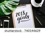 2018 goals text writing on... | Shutterstock . vector #740144629