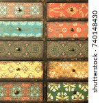 old rustic and colorful drawer... | Shutterstock . vector #740148430