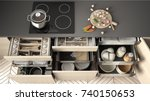 opened wooden kitchen drawer... | Shutterstock . vector #740150653
