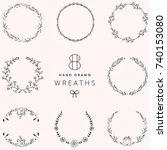 set of 8 hand drawn vector... | Shutterstock .eps vector #740153080