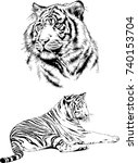 set of vector drawings on the... | Shutterstock .eps vector #740153704