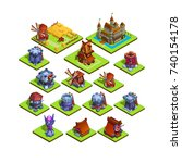 set of isometric medieval... | Shutterstock .eps vector #740154178