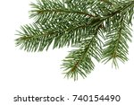 fir tree branch isolated on... | Shutterstock . vector #740154490