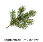 fir tree branch isolated on... | Shutterstock . vector #740154499