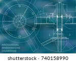 mechanical engineering drawing. ... | Shutterstock .eps vector #740158990