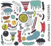 hand drawn vector set of decor... | Shutterstock .eps vector #740159590