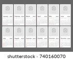 calendar 2018 year in simple... | Shutterstock .eps vector #740160070