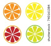 editable icon of citrus slices... | Shutterstock .eps vector #740161384