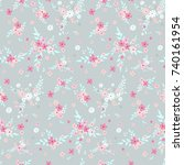 seamless floral pattern.... | Shutterstock .eps vector #740161954