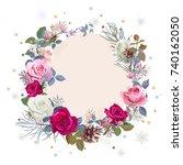 christmas card  wreath of... | Shutterstock .eps vector #740162050