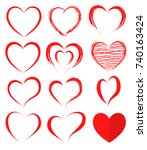 vector hearts set. hearts icons.... | Shutterstock .eps vector #740163424