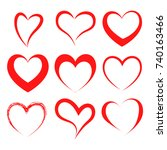 vector hearts set. hearts icons.... | Shutterstock .eps vector #740163466