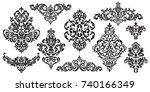 set of oriental vector damask... | Shutterstock .eps vector #740166349