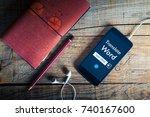 language translation app in a... | Shutterstock . vector #740167600