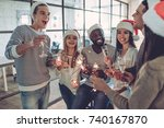 merry christmas and happy new... | Shutterstock . vector #740167870