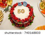 beautiful cake for fifty years | Shutterstock . vector #740168833