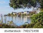 the sicty of montreux on lake...   Shutterstock . vector #740171458