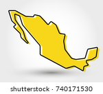 yellow outline map of mexico... | Shutterstock .eps vector #740171530