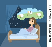 woman with insomnia. trying to... | Shutterstock .eps vector #740173594