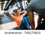 young beautiful woman doing... | Shutterstock . vector #740173810