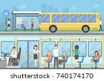 bus stop set. people waiting... | Shutterstock .eps vector #740174170