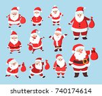 santa claus set. funny cartoon... | Shutterstock .eps vector #740174614