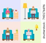 leisure for pensioners  reading ... | Shutterstock . vector #740176696