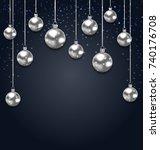 christmas silver glassy balls... | Shutterstock . vector #740176708